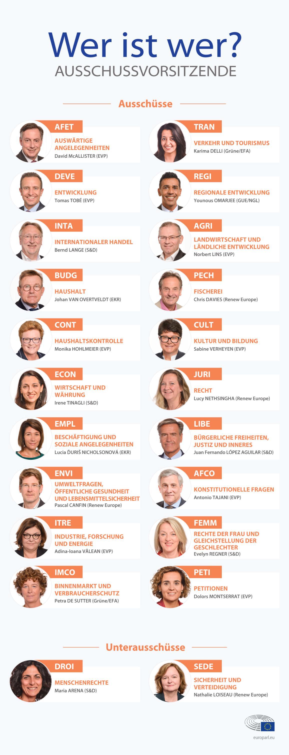 Infografik mit der Liste der Ausschüsse und der Vorsitzenden