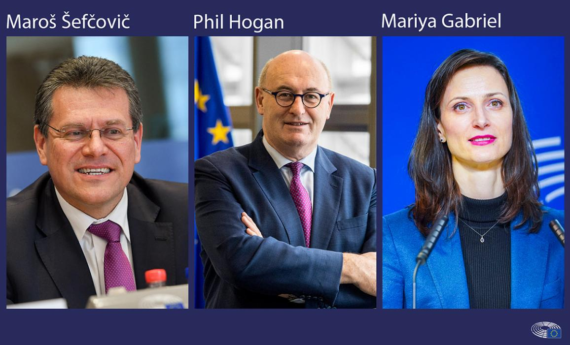 Fotogrāfija: Pirmdien plānotās Komisāru ''darba intervijas'': Šefčovičs, Hogans, Gabriela.