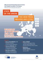Poster of the event on the State of the Union: the view from Regions and Cities, taking place on Wednesday 16 October 2019