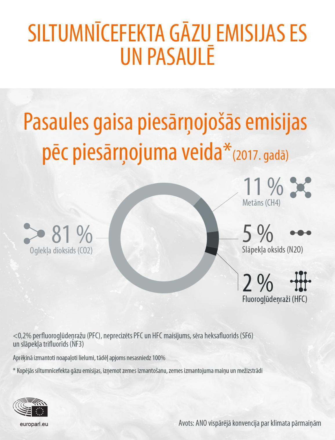 Infografika: Pasaules gaisa piesārņojošās emisijas pēc piesārņojuma veida 2017. gadā.