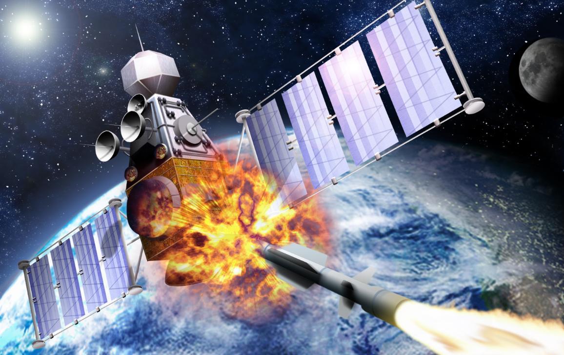 European space with satellite