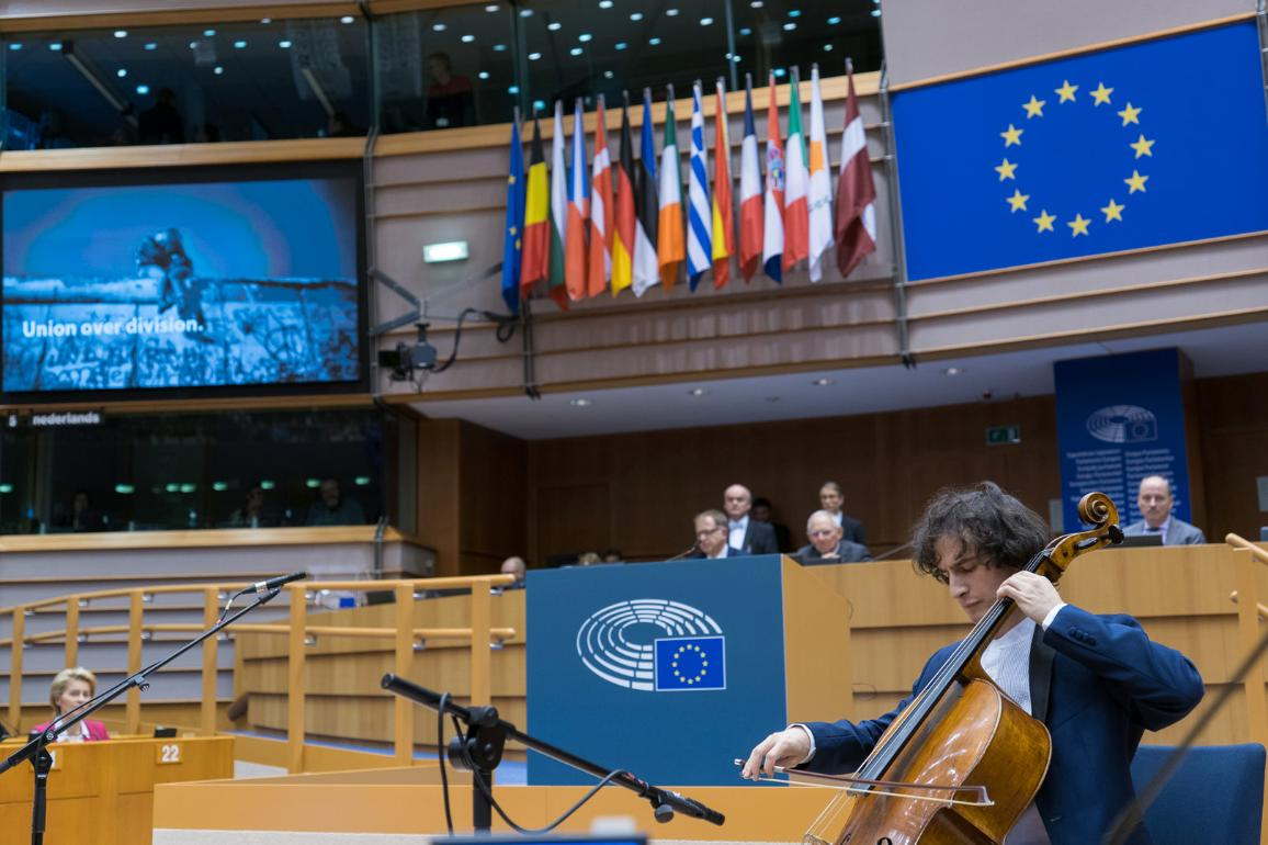 Ceremony for the 30th anniversary of the fall of the Berlin Wall at the European Parliament in Brussels.