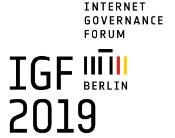 Official logo with the words Internet Governance Forum - IGF 2019 Berlin and a linear symbol of the Brandeburg Gate in black, red and yellow colour