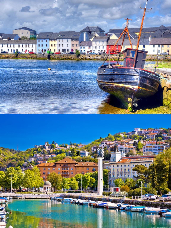 Zwei Aufnahmen der Uferpromenade in Galway und eines kleinen Fischerhafens in Rijeka