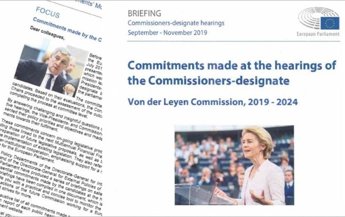 Commitments made at the Hearings of Commissioners-Designate