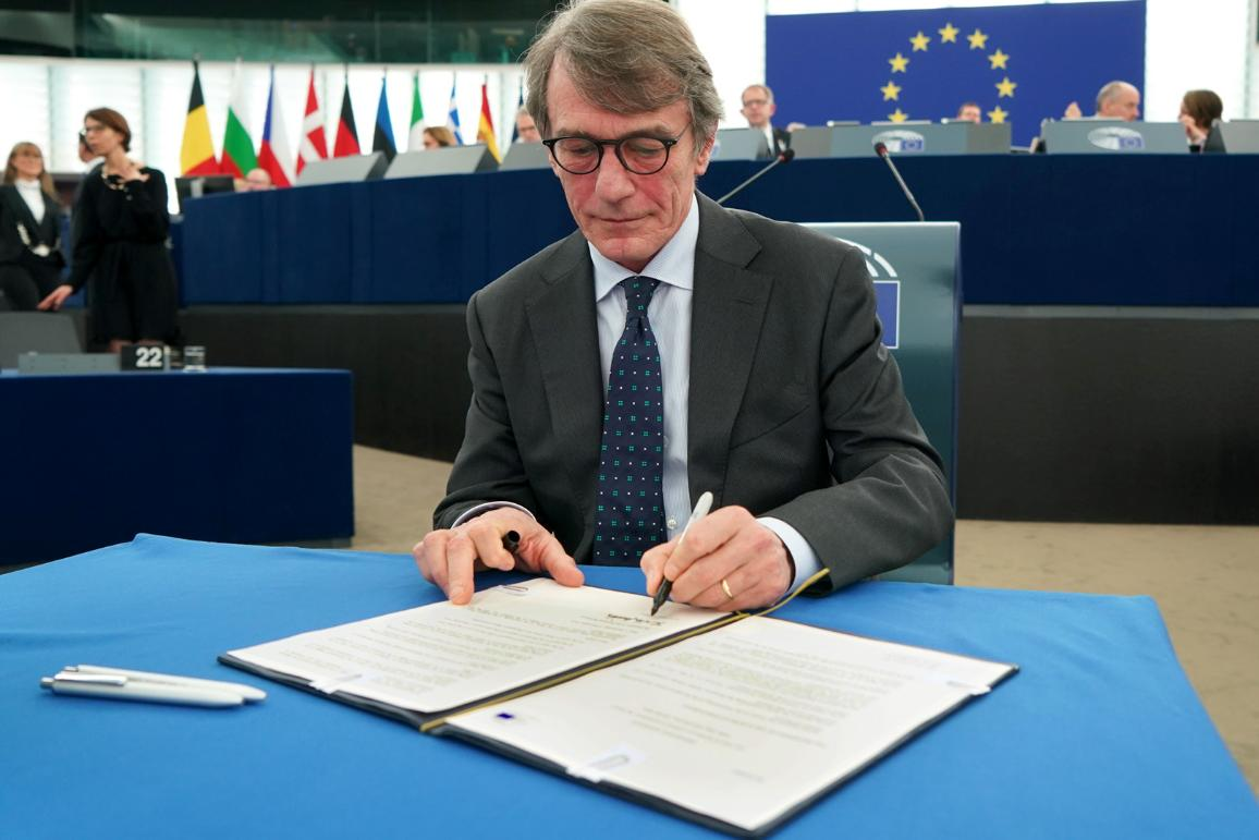 Next year's budget for investing in the EU and its member states, which was agreed with the Council on 18 November signed into law by Parliament's President David Sassoli.