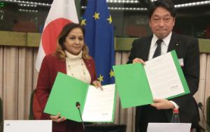 EU Chair Neena GILL, CBE and Honourable Itsunori ONODERA Member of the House of Representatives of the National Diet of Japan