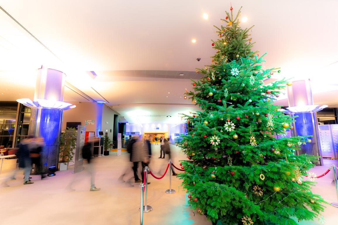 Коледно дърво в Европейския парламент