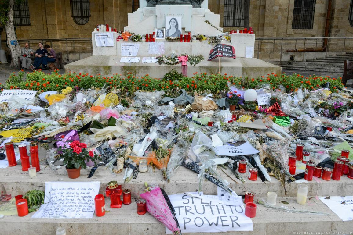 Flowers and candles for the murdered journalist Daphne Caruana Galizia at La Valletta, Malta, the 2nd of Novembre 2017.