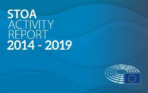 'STOA Activity Report 2014-2019' written on blue background