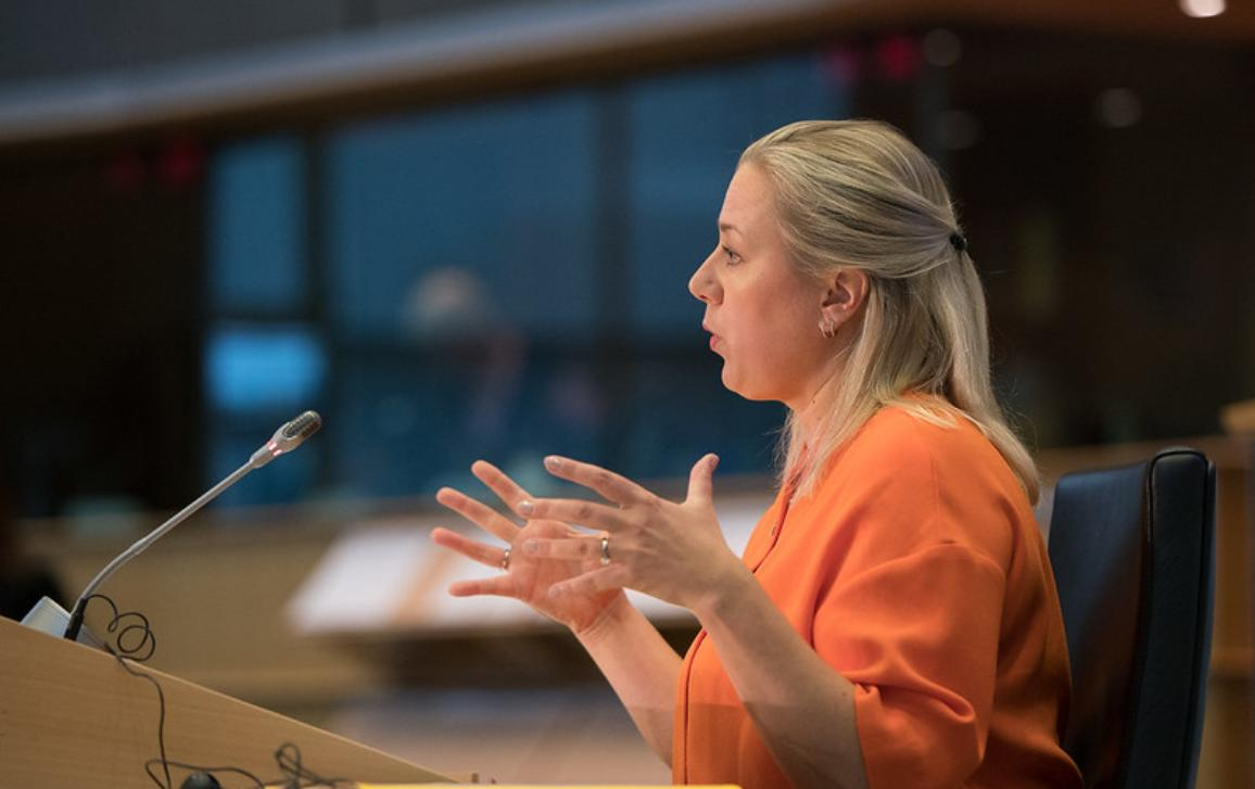 The new Commissioner for International Partnerships, Jutta Urpilainen, at her Hearing in the European Parliament in October 2019