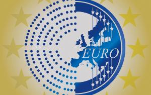1 euro coin going through a simplified hemicycle drawing