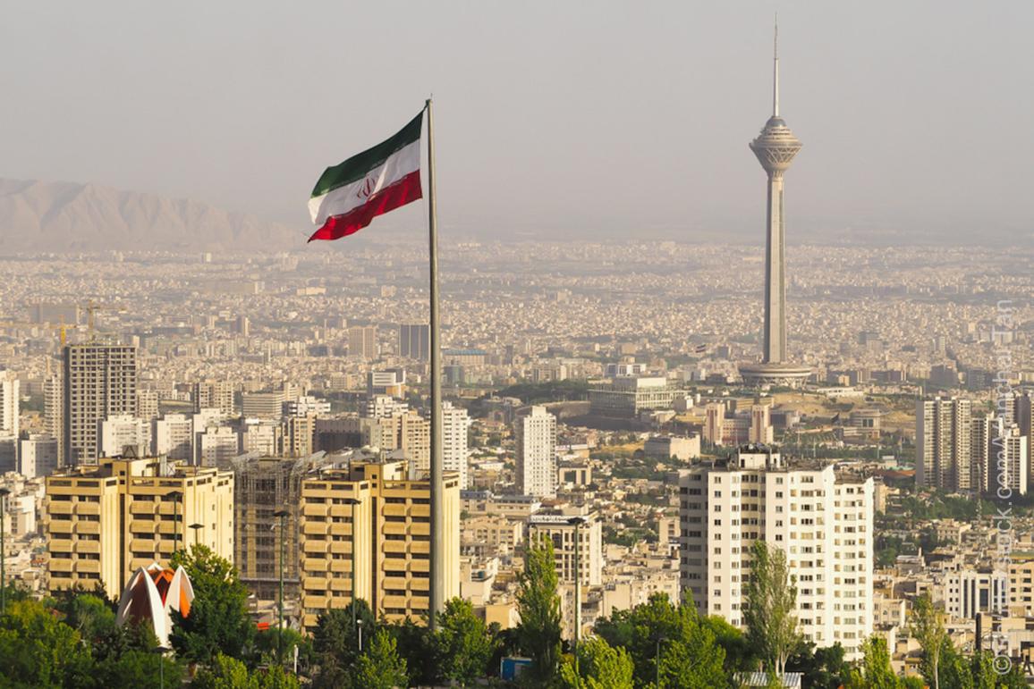 Gebouwen in de stad Tehran, Iran