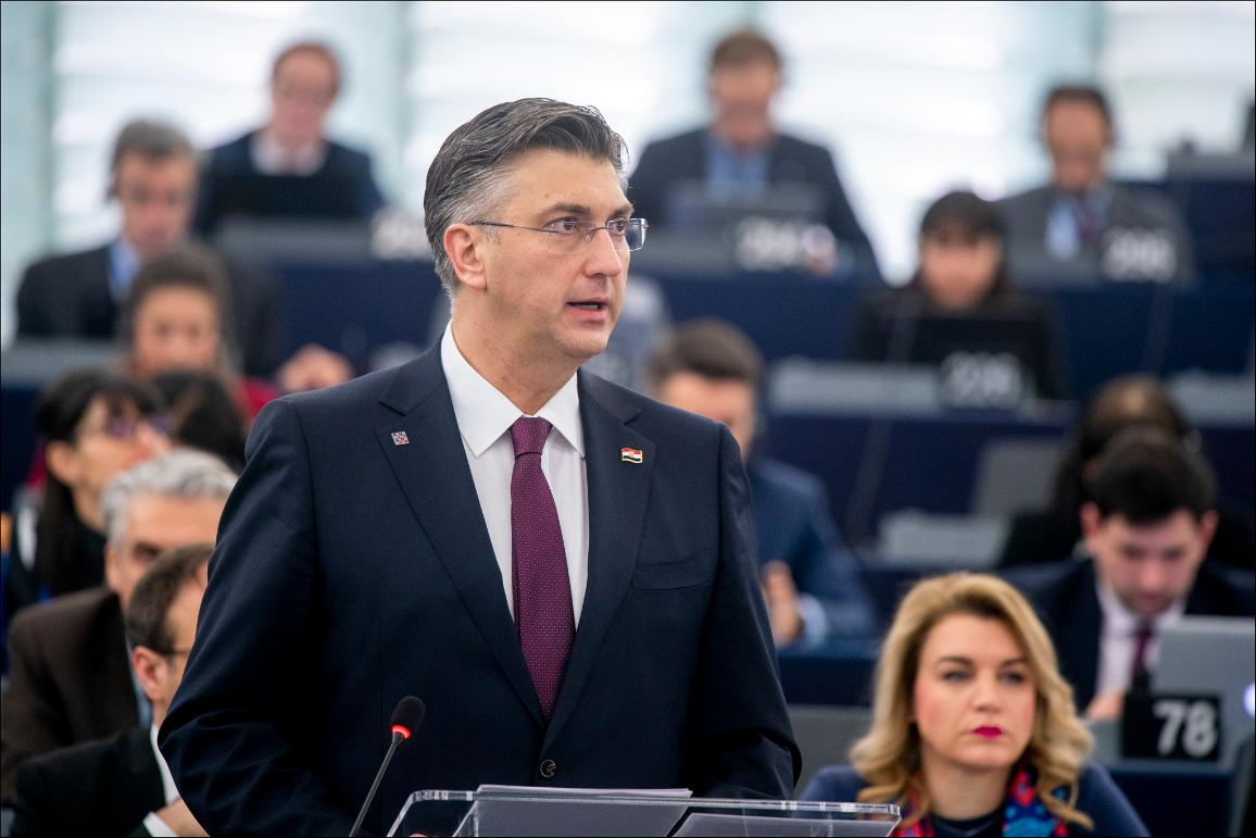 """We must get closer to our citizens"", said Prime Minister Plenković presenting  priorites of Croatian presidency  © European Union 2020 - EP"