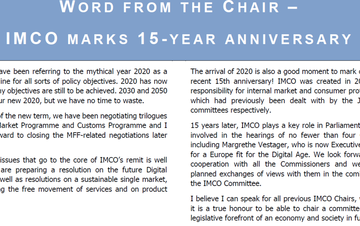 front page - word from the Chair - IMCO newsletter 107