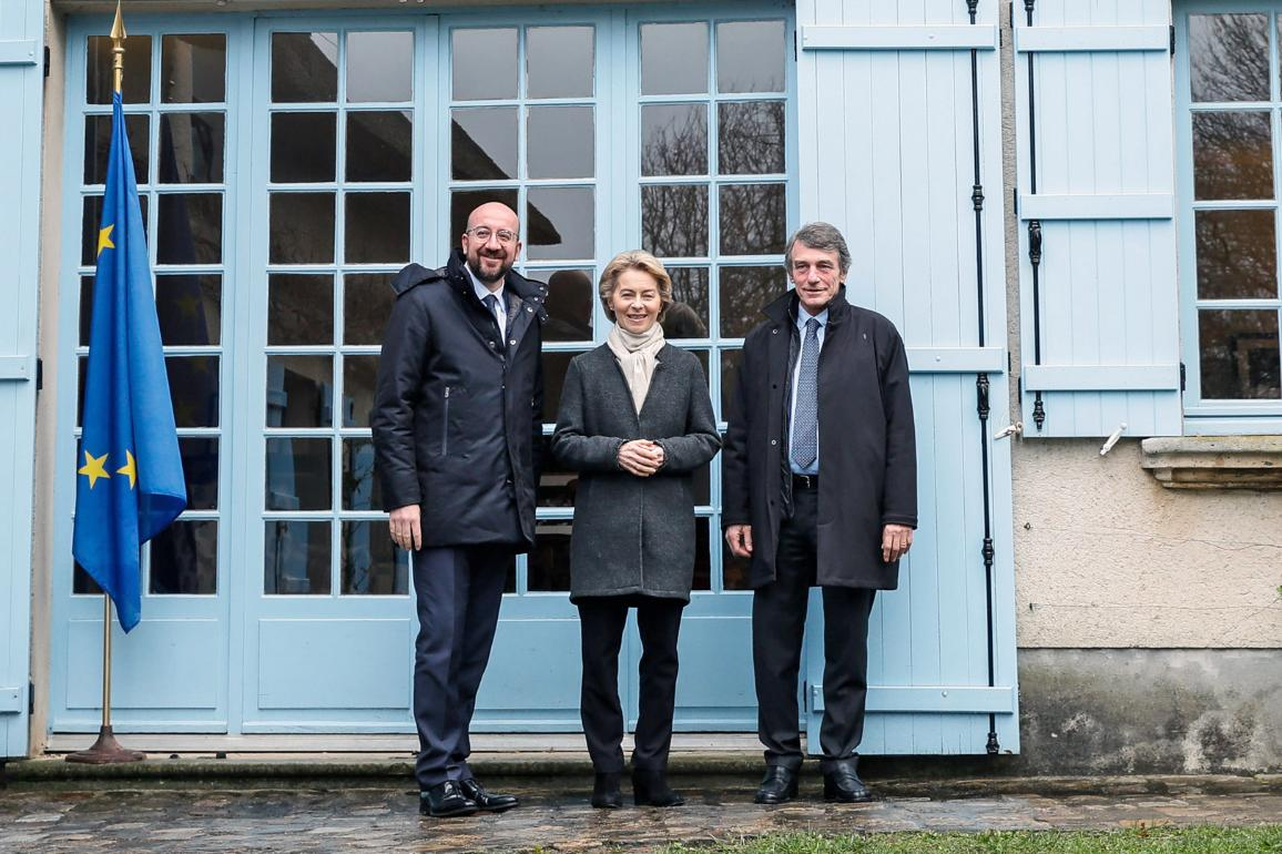 The presidents of the three main EU institutions at the Jean Monnet House in France where they discussed the future of the EU, geopolitical challenges, climate and digitalisation on Thursday 30 of January 2020.