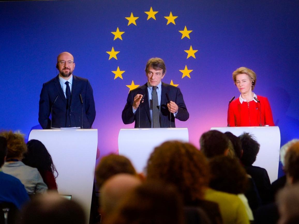 Erklärungen der drei EU-Präsidenten zur Zukunft Europas im Parlamentarium (Brüssel)