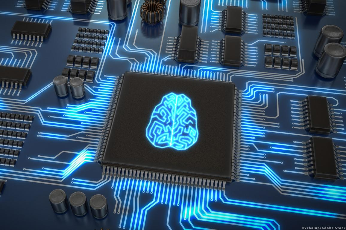 Artificial intelligence electronic circuit, a microchip with glowing brain. ©Vchalup/Adobe Stock