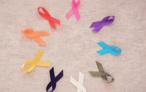Cancer prevention colourful ribbons
