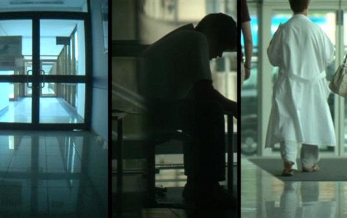 Corridors, shadow of a patient and a doctor in a psychiatric hospital