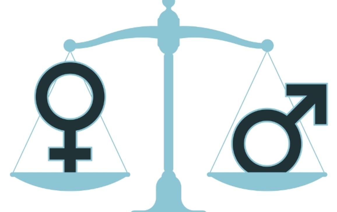 Justice's symbol balance with men's and woman's symbol in each of its pan