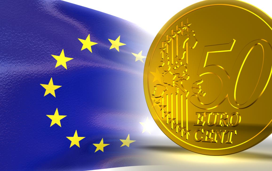 EU's flag and a coin of 50 cents