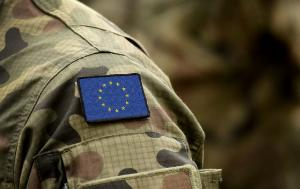 Badge with the EU flag on the shoulder of a soldier