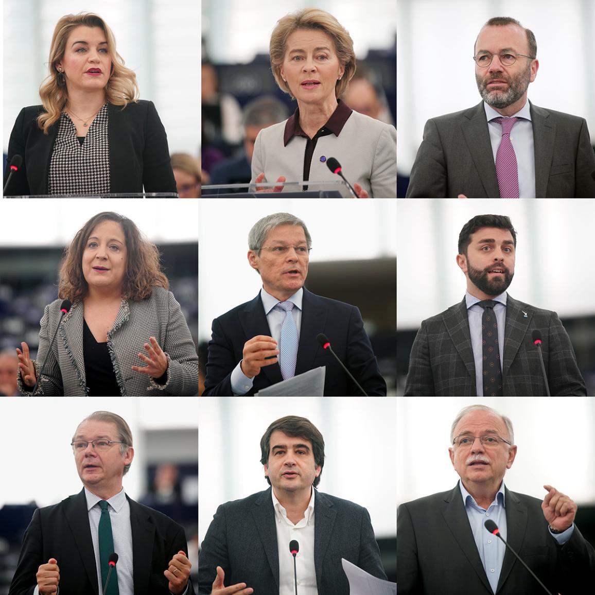 medium-close shots van de deelnemers aan het debat
