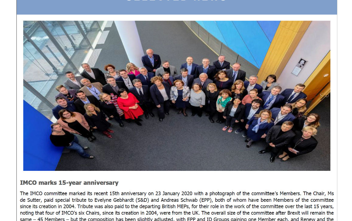 Newsletter front page - picture IMCO Members to celebrate 15th anniversary of IMCO committee