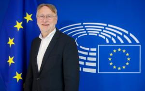 The chair of the INTA Committee in front of the EU flag
