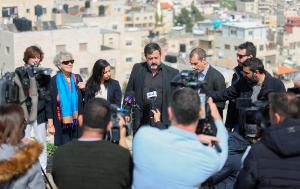 The EP Delegation during a press conference organised at a view point overlooking al-Issawiya neighbourhood in East Jerusalem