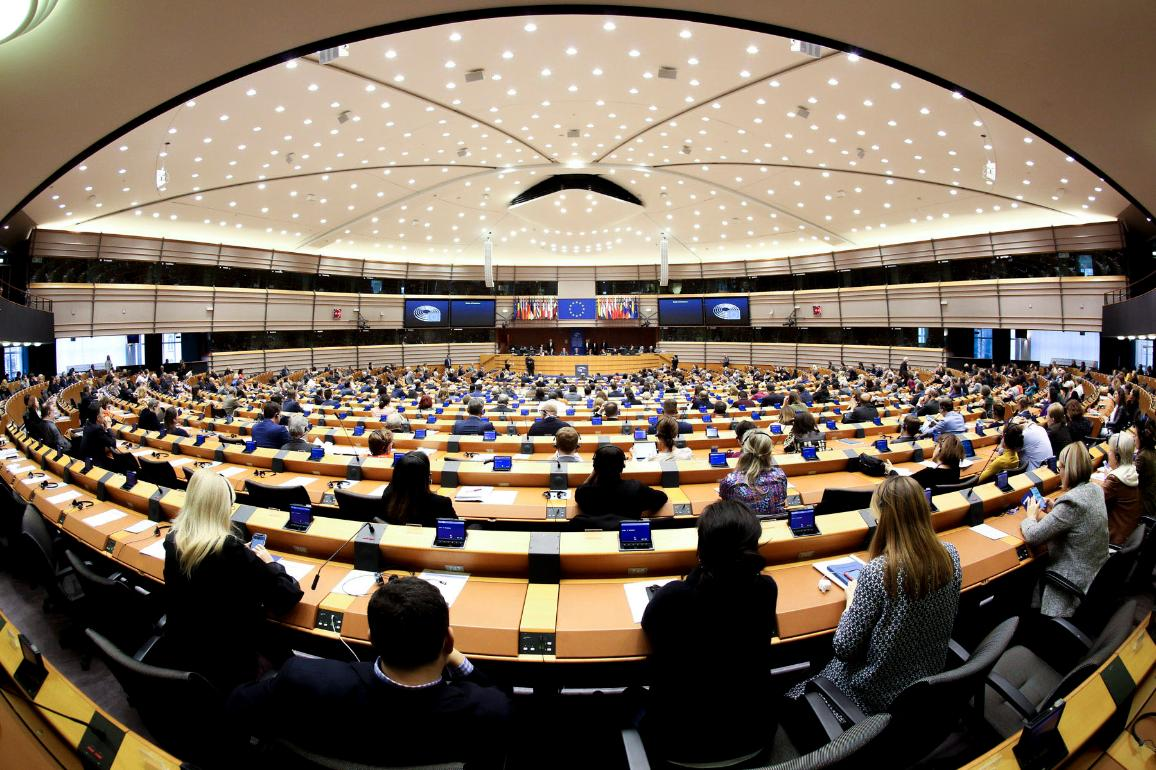 A general view of the hemicycle in Brussels at the opening of March plenary session.