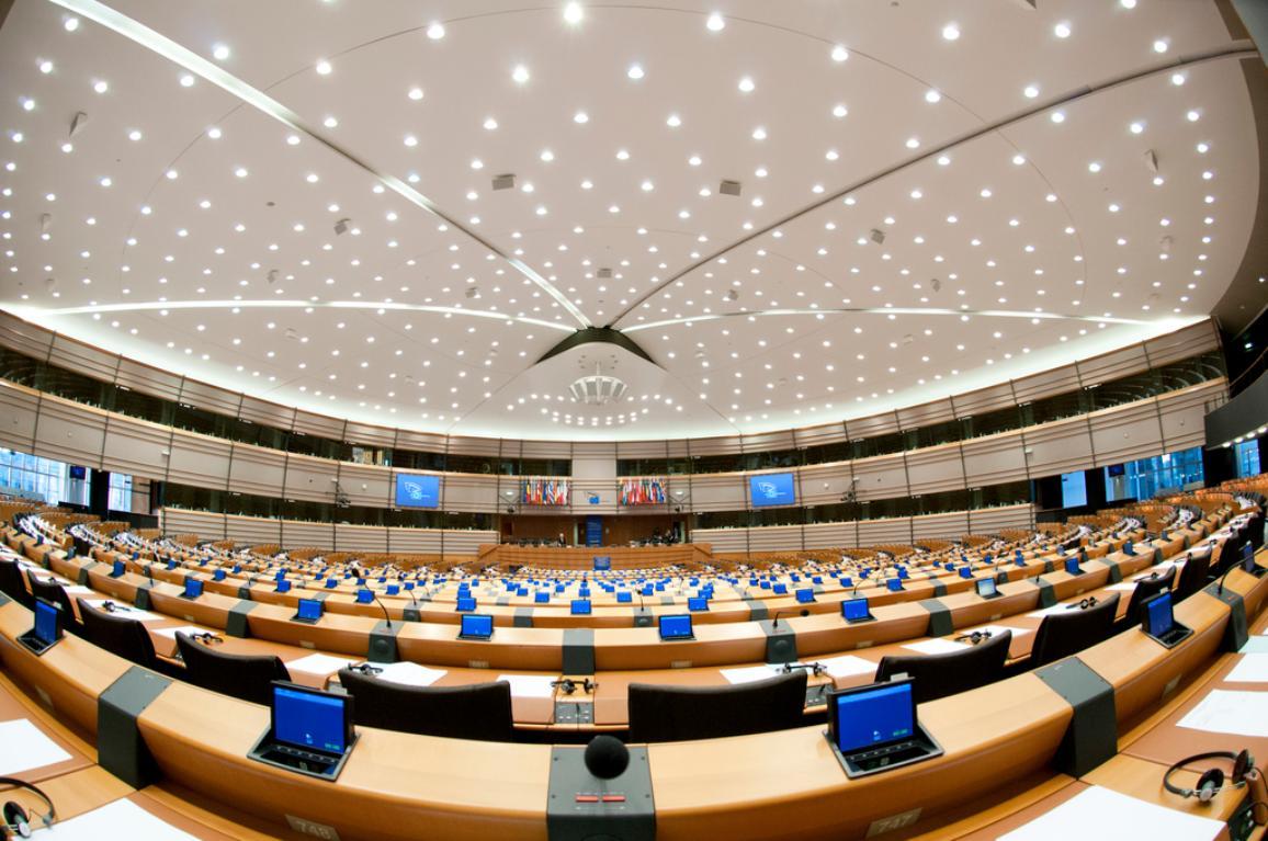 Fotoattēls: Plenārsēžu zāle Briselē.