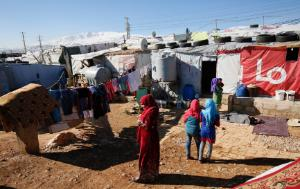 Syrian women and girls in an informal tented settlement in the Bekaa Valley, Lebanon, 2017