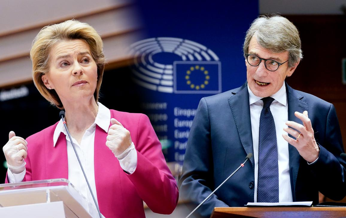 Commission President Ursula von der Leyen and Parliament President David Sassoli picturred during the debate on the European coordinated response to the COVID-19 outbreak