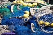 Colourful fishing nets with floats