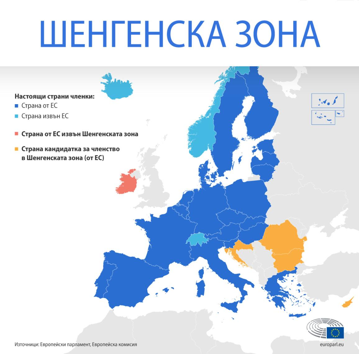 Карта на Шенгенската зона, посочваща страните членки от и извън ЕС и страните кандидатки за членство