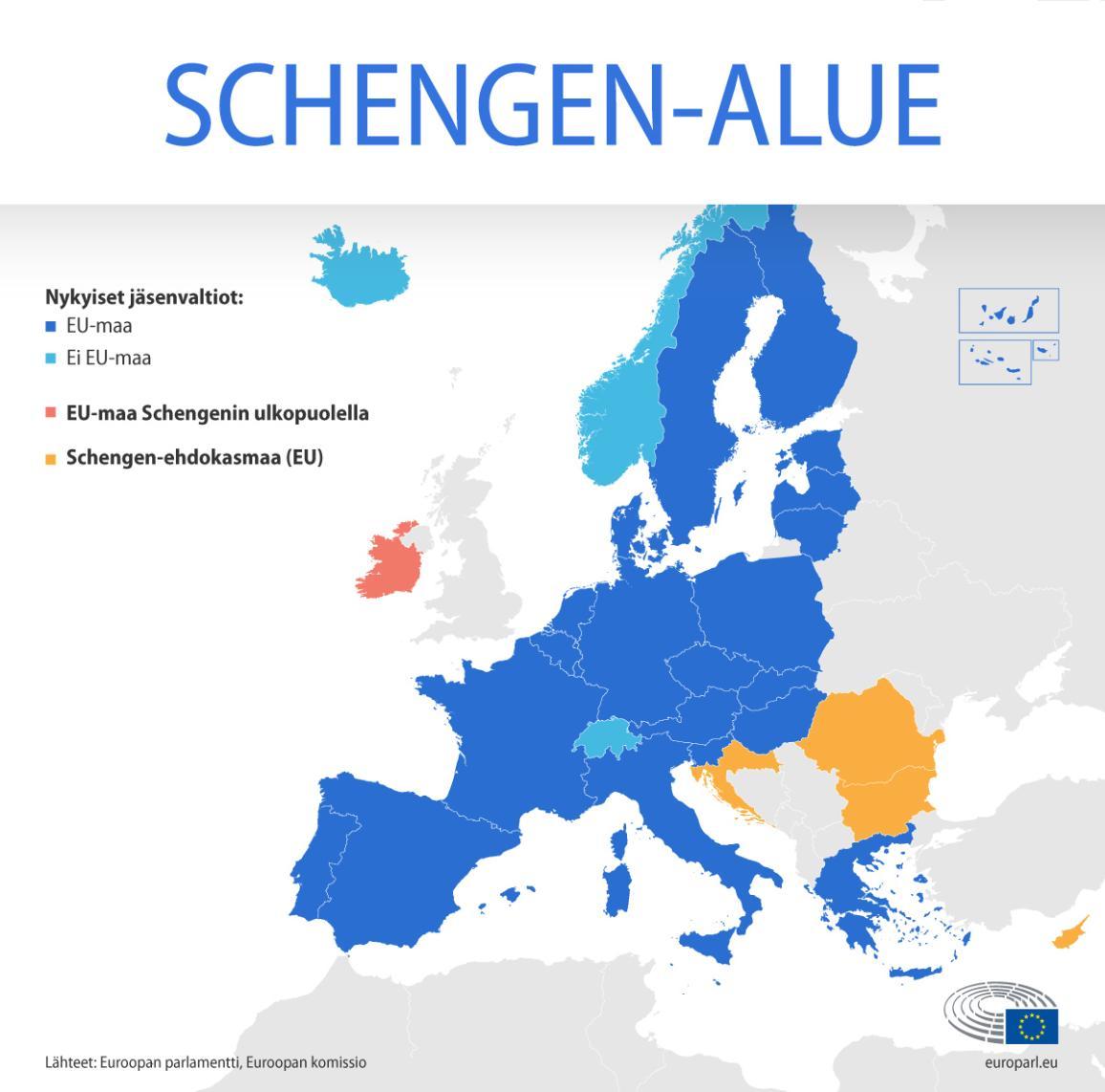 Schengen-alueen kartta, josta näkyvät EU:hun kuuluvat ja EU:n ulkopuoliset Schengen-maat, EU:hun kuuluvat ei-Schengen-maat sekä Schengen-ehdokasmaat, jotka kuuluvat EU:hun