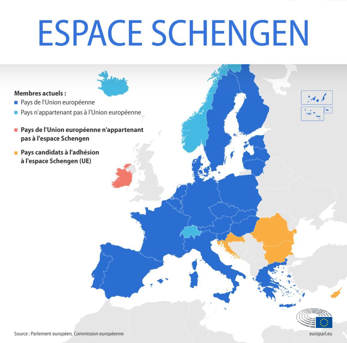 Carte de l'espace Schengen indiquant les membres UE et non UE, les pays candidats et les États membres de l'UE hors espace Schengen