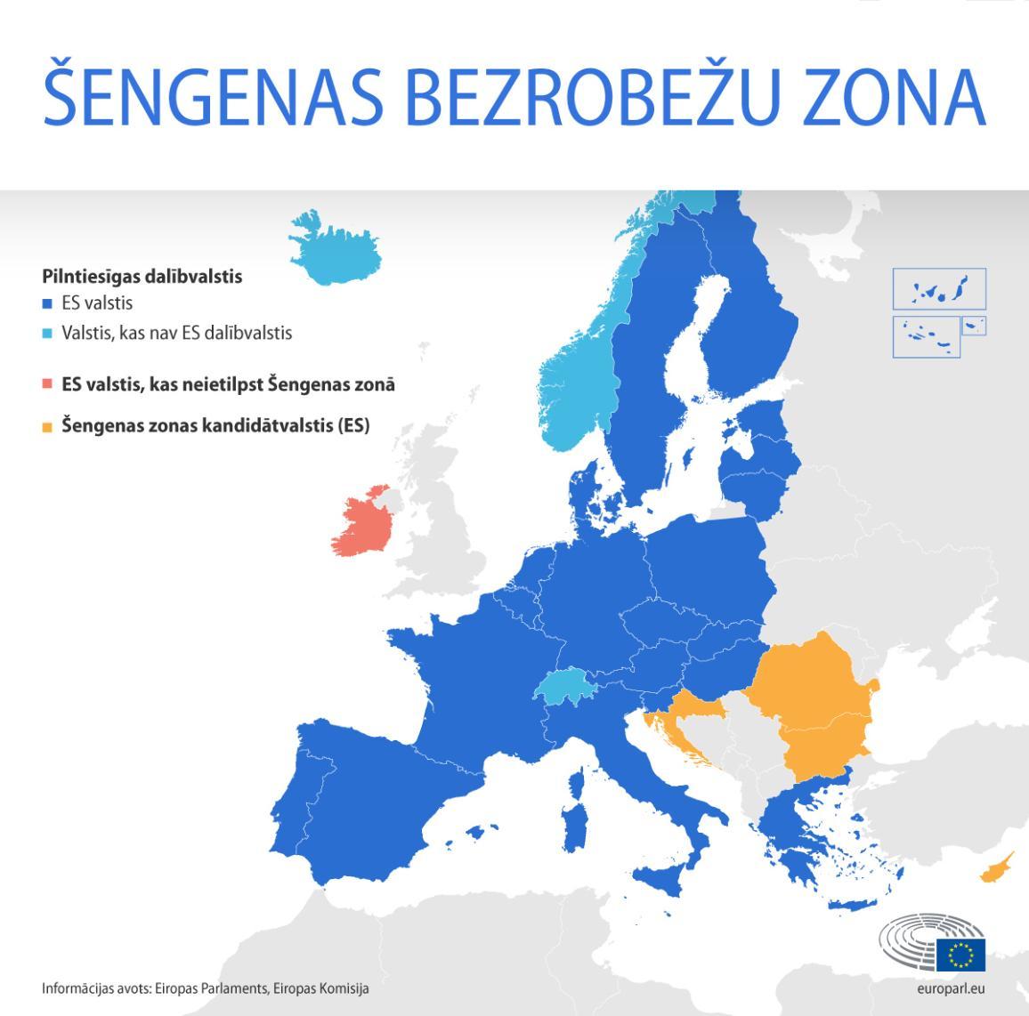 Šengenas zonas kartē redzam pašreizējās ES dalībvalstis un valstis, kas nav ES dalībvalstis, kandidātvalstis un ES valstis ārpus Šengenas zonas.