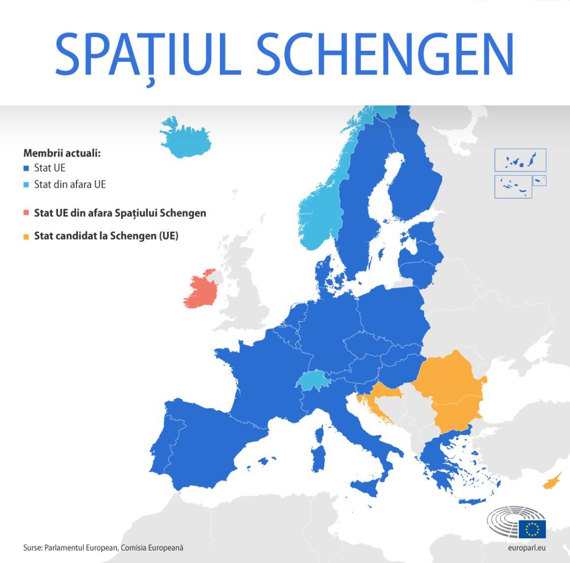 Hartă cu membrii actuali ai spațiului Schengen din și din afara UE, țările candidate și țările UE din afara spațiului Schengenes and EU country outside the Schengen area