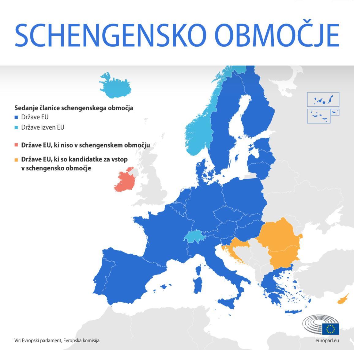 Zemljevid schengenskega območja z označenimi sedanjimi članicami schengenskega območja, ki so članice EU in ki niso članice EU, državami EU, ki niso v schengenskem območju, in državami EU, ki so kandidatke za vstop v schengensko  območje
