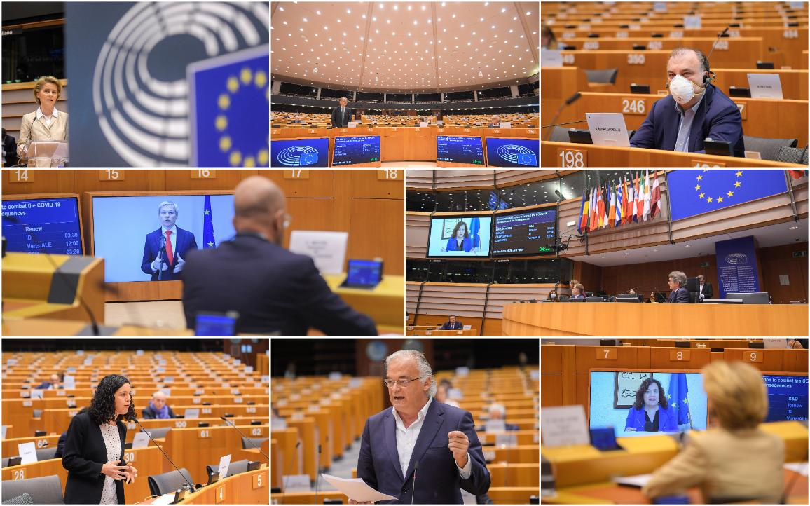 Some MEPs participated remotely in the special plenary debate on EU response to COVID-19 in the Brussels chamber.   © European Union 2020