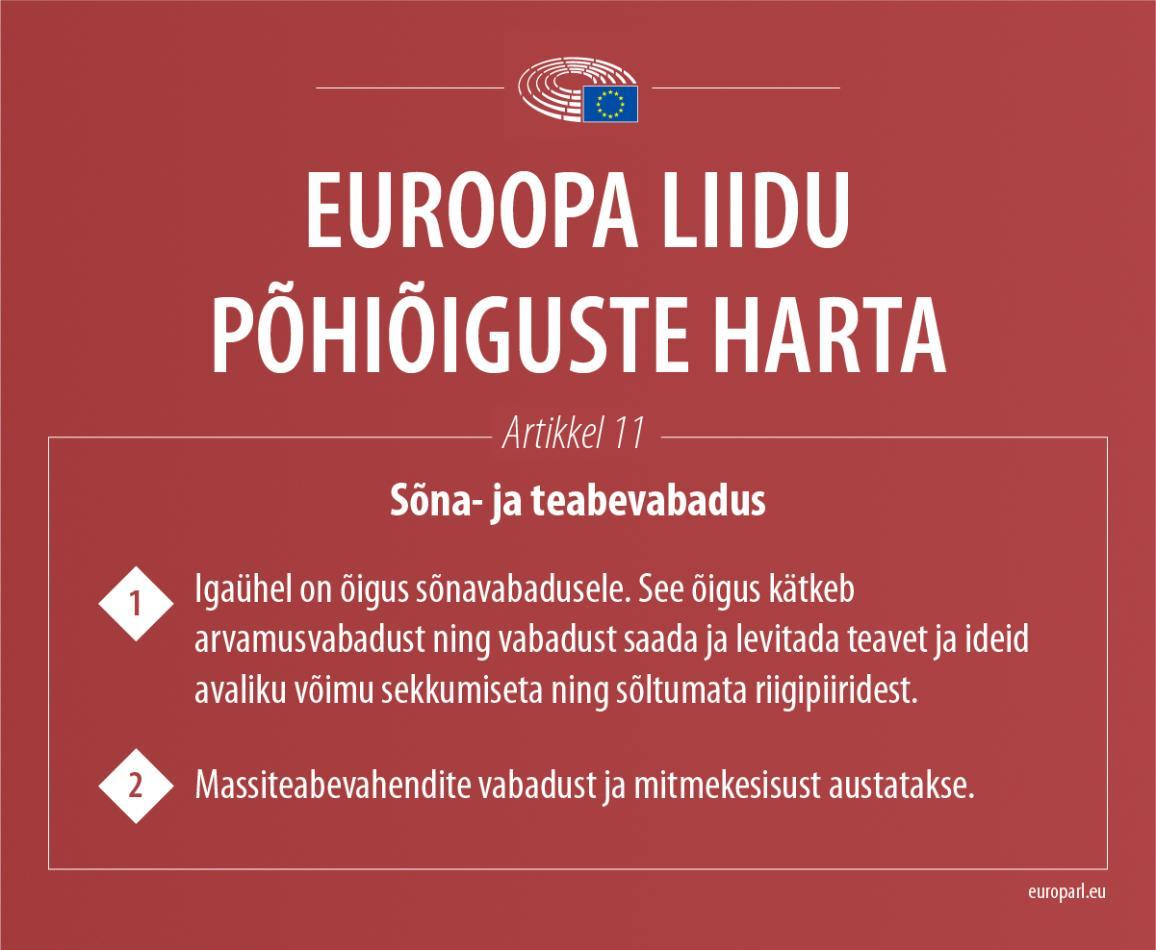 Infograafik: ELi põhiõiguste harta artikkel 11  sõna- ja teabevabaduse kohta