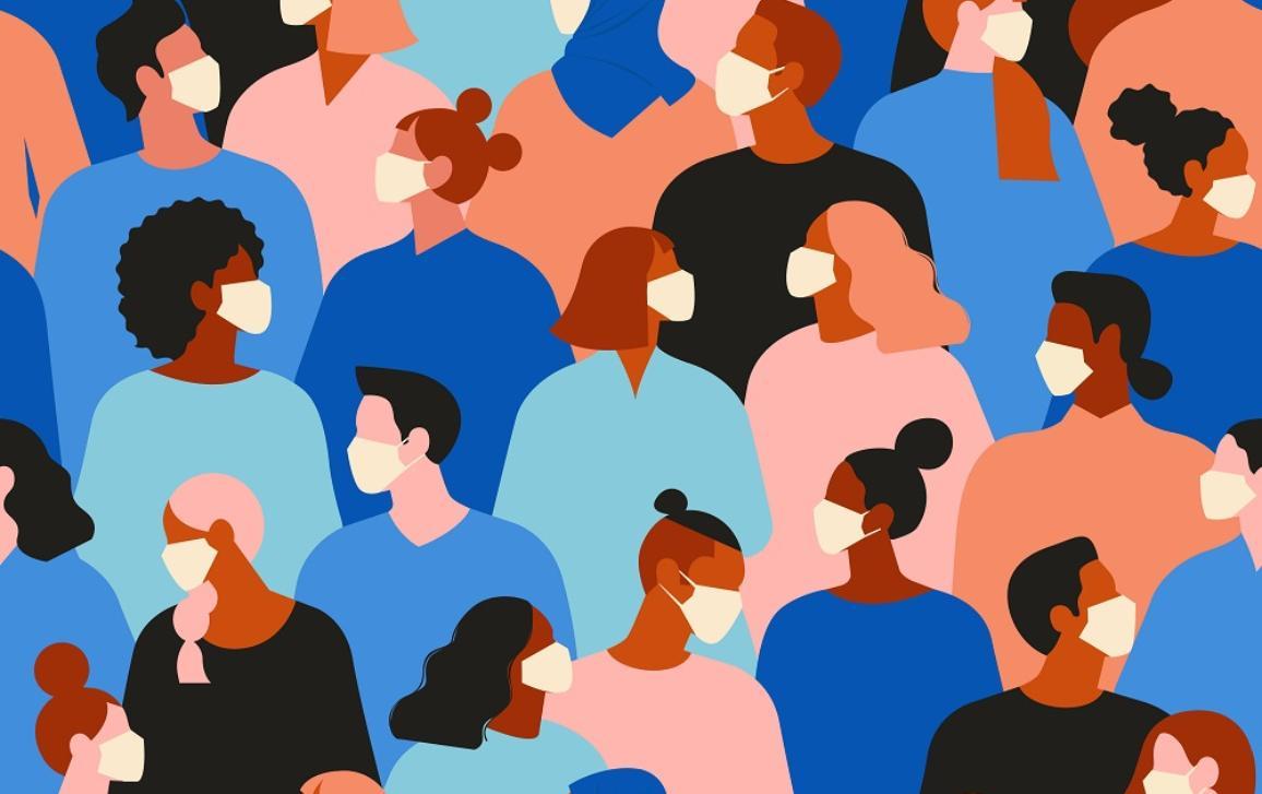 Novel coronavirus, people wearing white medical face mask. Concept of coronavirus quarantine illustration