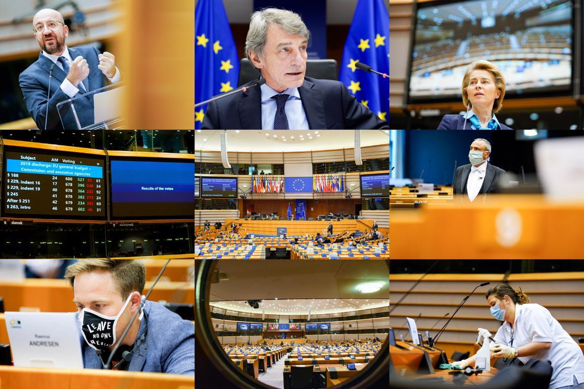 Fotocollage von Schnappschüssen aus dem Plenarsaal in Brüssel