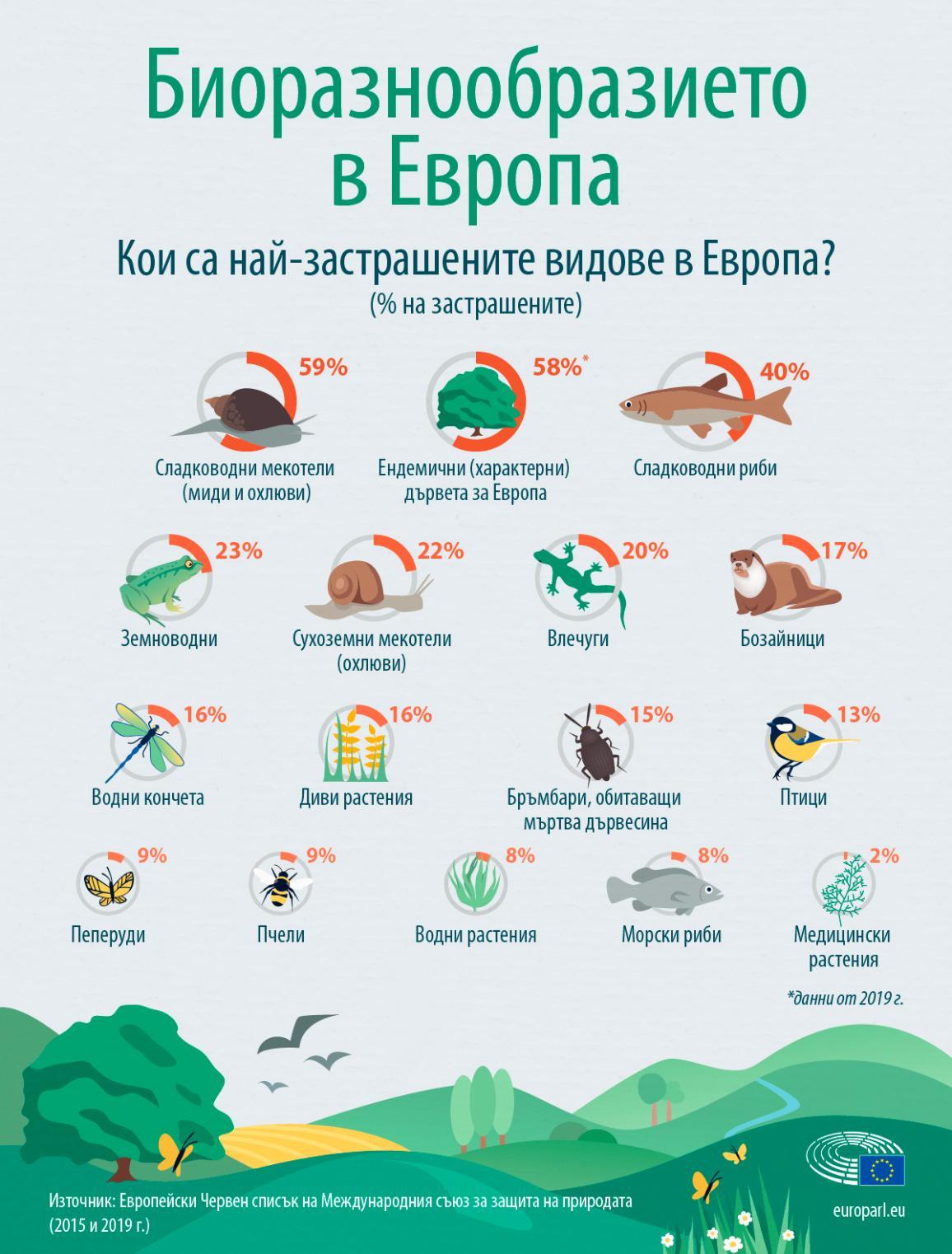 Инфографика за най-застрашените видове в Европа