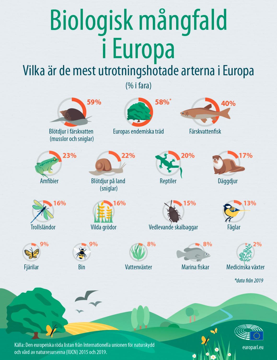 Grafik över utrotningshotade arter