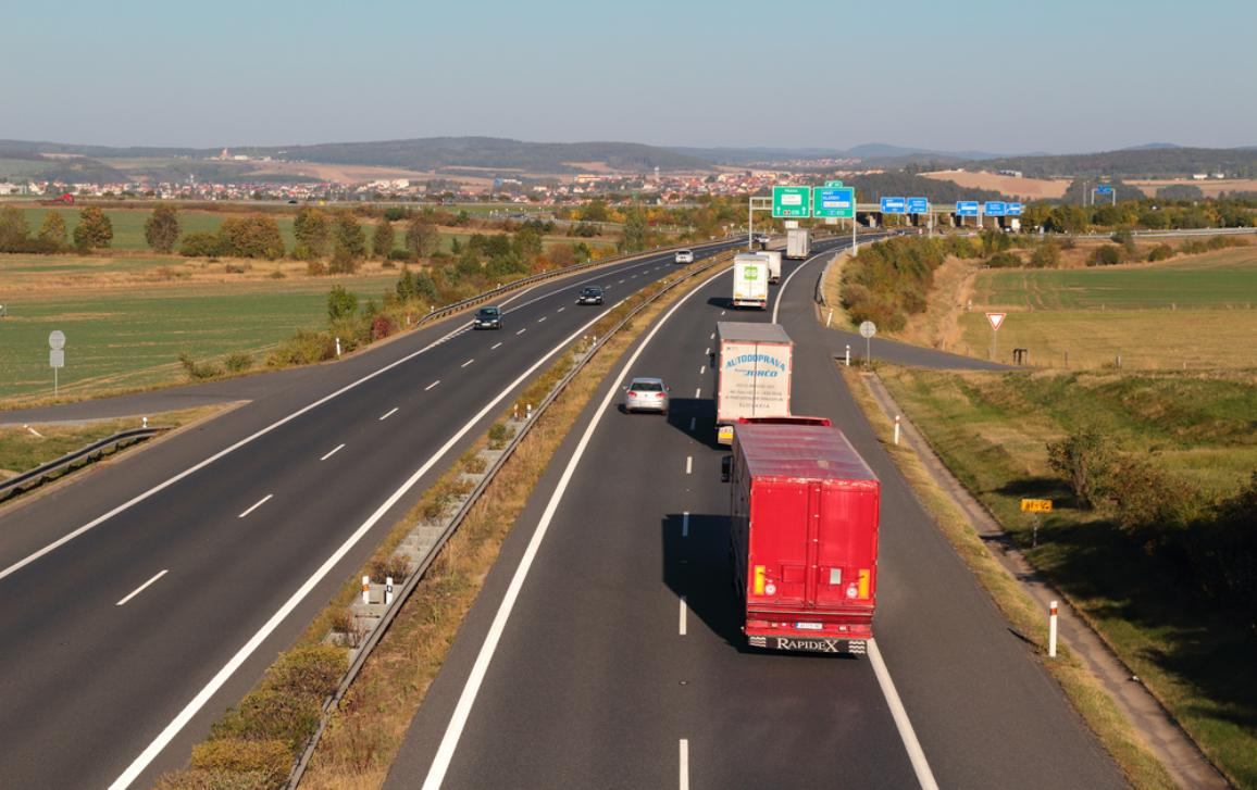 Line of trucks on the D5 highway. The D5 is important transport connection between West Bohemia and Bavaria in Germany.