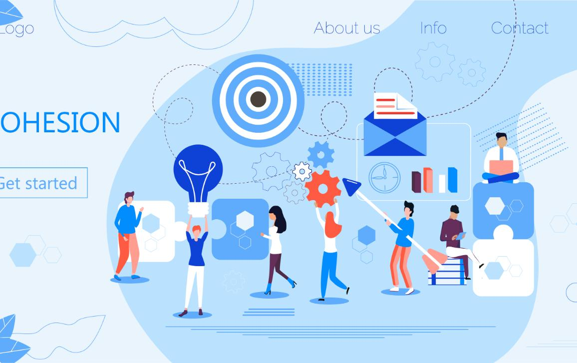 Cohesion, research, development, culture, Infographic banner with elements in this line style.